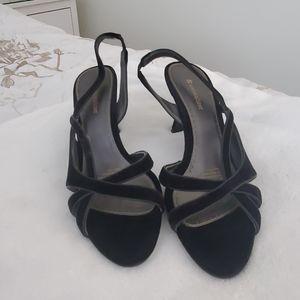 Naturalizer black velvet open toe heels